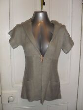 BNWOT Rivers size 8 acrylic grey knit button cardigan short sleeved hooded in EC