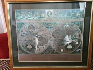 Vintage  Silver Foil Blaeu Wall Map Framed and Matted World Map