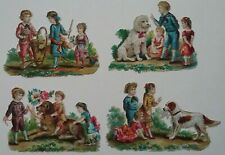 4 Antique chromo, embos Victorian Scraps.VICTORIAN CHILDREN TRAINING DOGS 7X5cms