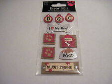 Scrapbooking Crafts Stickers I Love Heart My Dog Tag Food Paw Prints Furry Grrr!