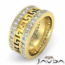 Maze Eternity Wedding Band 18k Yellow Gold Prong Diamond 10mm Mens Ring 1.85Ct