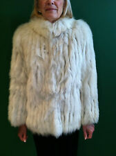 Silver Fox Lined Fur Jacket Stand up Collar Natural Shoulder Vintage Coat White