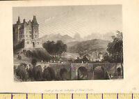 C1830 Antiguo Estampado ~ Castillo De Pau ~ Birth-Place De Henri