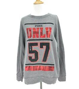 Pink Victoria Secret UNLV Rebels Oversize Sweatshirt Size XS Red Foil Thumbholes