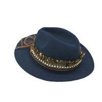 Fashion Vintage Womens Fedora Felt Wool Feather Skull Trim Wide Brim Floppy Hat
