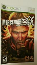 Xbox 360 Mercenaries 2 World in Flames  Instruction Booklet Insert Only