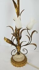 Antique Italian Tole Lamp Gilt Wood Alabaster