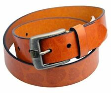 """TOMMY BAHAMA Tan / Brown PALM LEAF EMBOSSED 1 3/8"""" Wide LEATHER BELT $88 Size 32"""