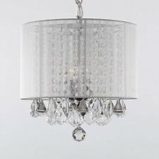Swag Plug In Crystal Chandelier With Large White Shade H15 X W15