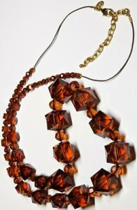 Joan Rivers Necklace Amber Tone Square Round Faceted Graduated Lucite Beads