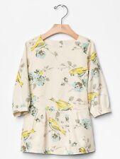 GAP Baby / Toddler Girl Size 12-18 Months Gray / Yellow Floral Drop-Waist Dress