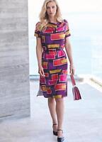Flattering Fit, Cowl Neckline Bold Print Belted Shift Dress Size 12 NEW