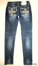 MISS ME Signature Skinny Jeans BLING Womens 27 x 30 Rhinestones Cross Pockets