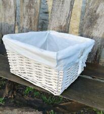 Wicker Basket Willow Split Cane Handmade White Storage Baskets Cotton Interior