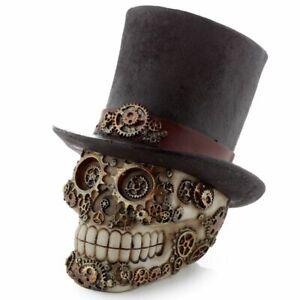 Puckator Steampunk Crâne Ornement Avec Chapeau Maison Gothique Figurine Décor