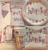 Pink Christening Day Party Tableware Decorations Party Accessories Decorations