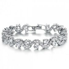GORGEOUS 18K WHITE GOLD PLATED & CLEAR CUBIC ZIRCONIA TENNIS  BRACELET BOX CLASP