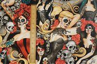 Alexander Henry Las Elegantes Halloween Cotton Woven Fabric by the 1/2 Yard