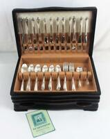 Vintage 1940 Wm Rogers & Son EXQUISITE Silverplate Flatware Set & Case 63 Pieces