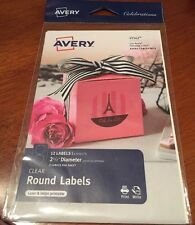 12 Avery 41562 Clear Round Labels. 6 Sheets of 2 Labels, Laser and Inkjet New