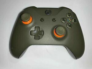 Microsoft xBox One Wireless Controller ~ 1708 Military Green with Orange stick