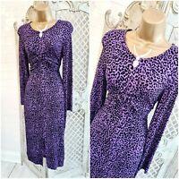 MOVES by MINIMUM  💋 UK 10 Purple Velvet Leopard Print Wiggle Dress ~Free P&P~