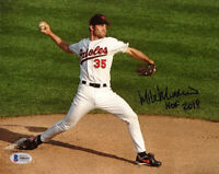 MIKE MUSSINA SIGNED AUTOGRAPHED 8x10 PHOTO +HOF 19 BALTIMORE ORIOLES BECKETT BAS