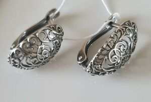 Russian sterling silver filigree EARRINGS MARKED 925 Russia small
