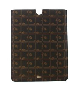 NEW $350 DOLCE & GABBANA Tablet Case Cover Brown Pattern Leather Silver Logo
