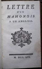 RARE : Iles Baléares ile Minorque : LETTRE D'UN MAHONOIS A UN ANGLOIS 1756 Veraz