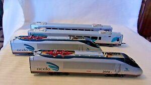 HO Scale Bachmann Spectrum Acela Express 4 car set #2006, 2007, 3208, 3312