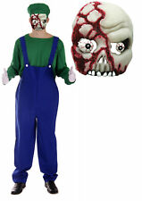 Mens Zombie Luigi  Workman Plumber Halloween Fancy Dress Costume with Mask