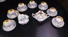 ANTIQUE ELEGANT KPM CREAMER SUGAR & 7 GOLD & FLORAL COFFEE TEA CUPS