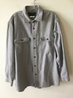 Field & Stream Men's Large Heavy Chamois Shirt Flannel Button Front Gray L A2