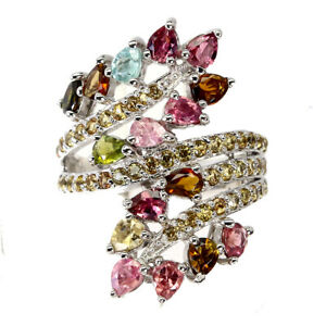 Unheated Pear Tourmaline Sapphire Diamond Cut 925 Sterling Silver Ring Size 9