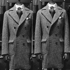 Men's Tweed Wool Suits Double-breasted Long Overcoat Herringbone Winter Warm New