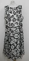 HOBBS Ladies Ivory Black Silk Floral Flare Aberline Dress UK16 BNWT RRP179
