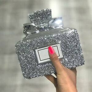 SILVER CRUSHED DIAMOND SPARKLY PERFUME BOTTLE ORNAMENT SHELF SITTER UK