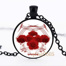 Roses and Tribal Graphics Glass Dome black Chain Pendant Necklace wholesale