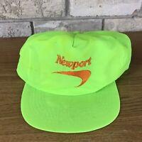 Vintage Newport Cap Cigarettes Hat Logo Snapback Baseball Trucker Neon Green Vtg