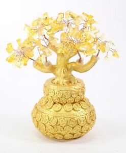 "7"" Feng Shui Yellow Crystal Money Tree Gold Coins Pot Lucky For Wealth Blessing"