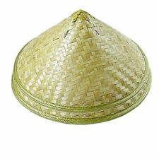 Pack of 2 Traditional Chinese Oriental Bamboo Straw Cone Garden Fishing Rice Hat