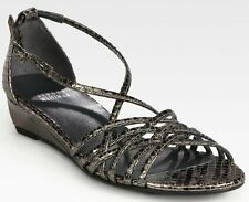 Stuart Weitzman Lead Lizard Shiny Leather Wedge Sandals Gray/Silver 36.5