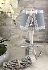 Tischlampe + Lampenschirm 44 Cm Shabby Chic Landhaus Stoff Blau Schleife  Vintage