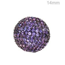 14 MM Amethyst Gemstone Disco Spacer Ball 925 Silver Loose Beads Finding Jewelry