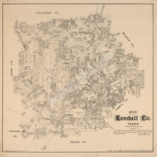 Map of Kendall County TX c1879 repro 20x20