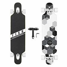 FISH SKATEBOARDS 41-Inch Downhill Longboard Skateboard Through Deck