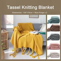 Soft Tassel Fringe Knitting Throw Rug Sofa Bed Couch Classic Blanket 130x170cm