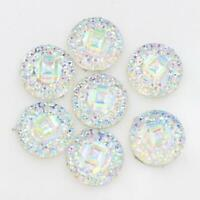 50pcs 12mm Resin Flower Cabochon Rhinestone Flatback Buttons DIY Craft White