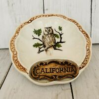 Treasure Craft California Ceramic OWL Ashtray Trinket Tray Souvenir Vintage